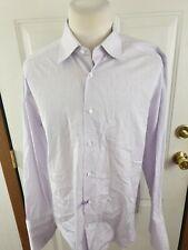 ERMENEGILDO ZEGNA Mens French Cuff Dress Shirt Purple White STRIPE 17-35/36