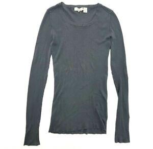 Inhabit Dark Grey Long Sleeve Shirt T-Shirt Size S Womens