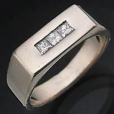 Stylish Weighty 12gm  Mens 18k Solid WHITE GOLD Low Set DIAMOND RING Sz V 1/2