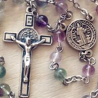 Fluorite Crystal bead Catholic 5 DECADE St.Benedict Rosary Cross crucifix gift