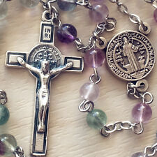 Fluorite Crystal bead Catholic 5 DECADE St.Benedict Rosary Cross crucifix gift