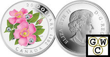 2011 Wild Rose Colorized and Crystallized Proof $20 Silver .9999Fine (12831)(NT)