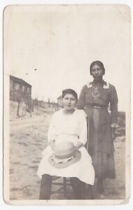 OLD PHOTO RPPC POSTCARD OF INDIAN GIRLS  IN DRESSES HAT MADE IN CANADA CANADIAN