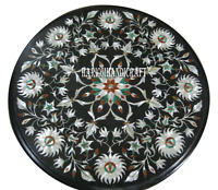 "15"" Black Marble Coffee Table Top Mother of Pearl Marquetry Inlaid Decor H2958"
