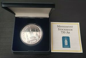 SWEDEN SILVER PROOF 200 KRONER COIN 2002 YEAR KM#908 STOCKHOLM CITY HALL BOX COA