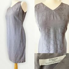 St Michael M&S 10 Dress Shift VTG 90s Grey Floral Embroidered Mini With Wool