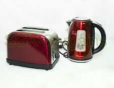 Matching Kitchen Set 1.7L Electric Cordless Kettle 2 Slice Bagel Toaster RED