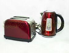 Juego De Cocina Eléctrico Hervidor Inalámbrico 1.7L Set 2 Rebanada Tostadora Bagel Rojo
