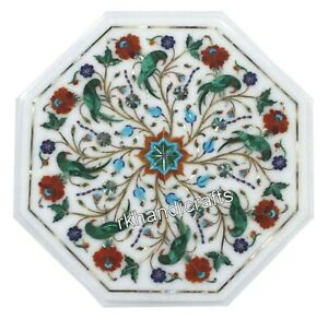 14 Inches Marble Coffee Table Top Inlay End Table with Multicolor Gemstones Work