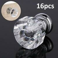16pcs Clear Crystal Diamond Glass Door Knobs Cupboard Drawer Furniture Handle