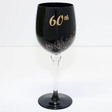 60th Birthday Wine Glass Gift Premium Engraved Piano Black Sparkle Gift Boxed