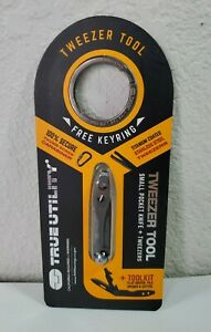 Tweezer Tool Small Pocket Knife Keyring True Utility Stainless Steel Screwdriver