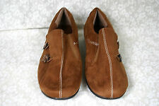 CLASSIQUE Women's Brown Suede Man Made Materials Slip-On Flats Shoes 8 1/2 M