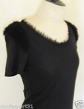 Top Tee-shirt ZARA Collection en M ou 38 Noir avec Epaule et Encoure Frangés TBE