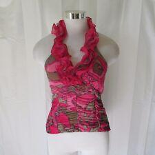 Coalition Womens Shirt Top Small Sleeveless Halter Lined Ruffled Elastic New E13