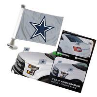 Dallas Cowboys 4x6 Size Car Flag 2-pc Ambassador NFL Football Trunk Hood