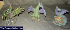 SET OF 3 GREEN & PURPLE DRAGON STATUES