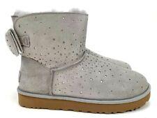 UGG Stargirl Bow Mini Women's Metallic Silver Stars Seal Gray Boots Size 8, 10