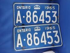 ONTARIO LICENSE PLATE S 1965 A 86453 SET PAIR  CROWN VINTAGE CAR  SHOW SIGN
