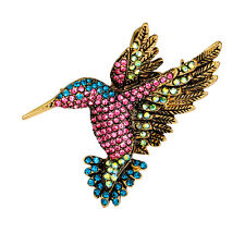 Lady Vintage Rhinestone Multi-Color Hummingbirds Brooch Pin Jewelry Gift Healthy