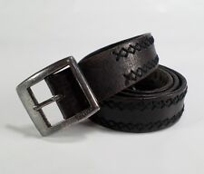 Levis Leather Belt Full Grain Steerhide X Stitched Strauss & Co Dark Brown 36 38