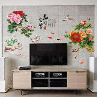 Wall Stickers Romantic Flower Decals Chinese Peonies Room Home Decors Removable