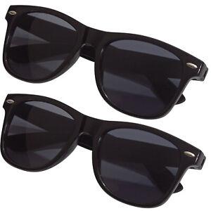 2x Sonnenbrille Pilotenbrille Retro Nerd Horn Party Brille Schwarz UV Schutz