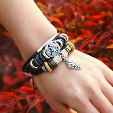 Women Gril Stainless Steel Conch Animal Cute Adjustable Leather Beaded Bracelet