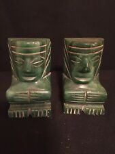 """2 JADE BOOK ENDS  VINTAGE ANTIQUE GREEN CARVED PAIR UNIQUE 3 1/2"""" X 2"""" STONE"""