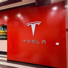 Tesla Logo 2ft  and Letters 3ft wide Sign Garage Brushed Silver Aluminum Gift