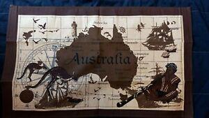 Australia souvenir brown tan map cotton tea towel NEW great gift idea
