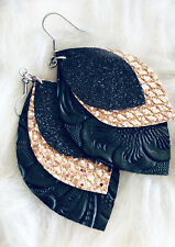 Faux Leather Earrings Black Embossed & Glitter Triple Layer    Hypo Allergenic