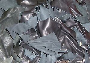 Reed Leather Scraps from Garment Leather Cutting -1 Pound -Mostly Black Color