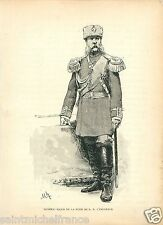 GENERAL MAJOR SUITE TSAR 1887 RUSSIE RUSSIA UNIFORM GRAVURE ANTIQUE PRINT