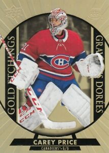 CAREY PRICE NO:G-9  GOLD ETCHINGS  in UPPER DECK TIM HORTONS 2020-21    a