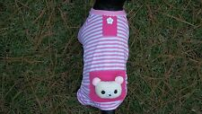dog pajamas,cotton,pink,bear,XL for small/med dogs(size details in description)
