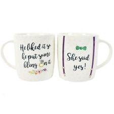 Ensemble de deux tasses She dit oui fiançailles mariage tasse en boîte cadeau