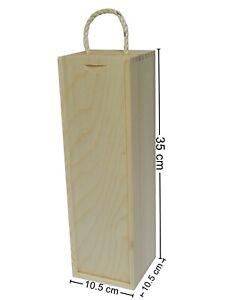 10 Wine Wooden Box Holder Case For Bottle Decoupage Craft Pine Wood Gift Present
