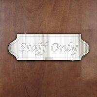 STAFF ONLY Door Sign Plaque Signage Personalised Name/Room Acrylic Mirror Gift
