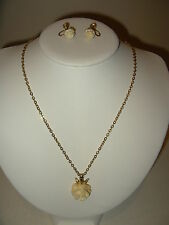 Vintage Goldtone & Carved Faux Bone Rose Pendant With Chain & Earrings