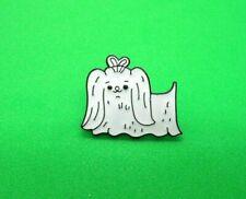 Maltese Dog Brooch Metal Badge Enamelled Pin Lhasa Apso White Puppy Maltipoo