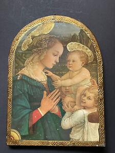 GUMPS Vintage Italy GOLD *Religious WALL Florentine Antique Print Children Lg