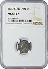 1827 MS64 BN Great Britain 1/3 Farthing NGC UNC KM# 703  982 REGISTRY POINTS!