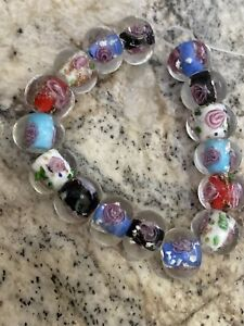 16 MIXED COLOR W/ PINK FLOWER ROUNDELLE   glass lampwork 12mm Beads- DIY
