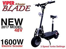Electric Scooter 1600W 48V Viper Blade New 2017 Model, Terrain Tyres, 51KPH. CE