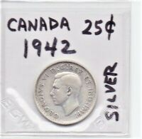 Canada 1942 Silver Quarter Coin King George VI As Pictured