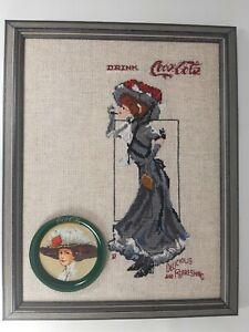 Coca Cola Wall Decor Handmade Cross Stitch w/ Original Metal Drink Coaster Litho