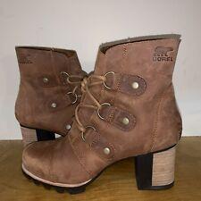 Sorel Addington Lace Ankle Boots Lace Up Elk Tan 8 Block Heel Wedge