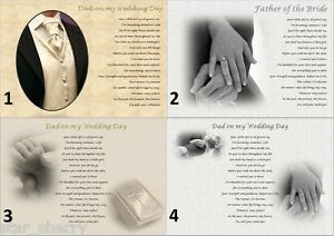 FATHER OF THE BRIDE - from BRIDE (Personalised poem gift) dad my wedding