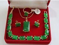 Beautiful  green jade 18K GP Pendant Bracelet Earring Ring Jewellery set